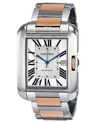 Cartier Tank Anglaise Xl Automatic Silver Dial Mens Watch - Metallic
