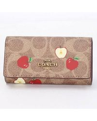 COACH Ladies Signature Canvas With Scattered Apple Print 6-ring Key Case - Multicolour