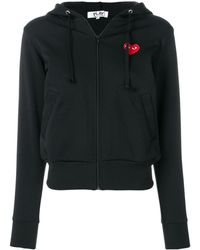 Comme des Garçons Ladies Long-sleeve Embroidered Heart Logo Hoodie - Black