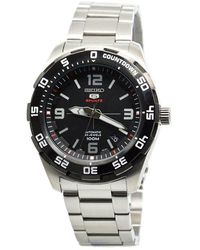 Seiko - 5 Automatic Black Dial Stainless Steel Mens Watch - Lyst
