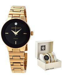 Anne Klein Open Box - Quartz Black Dial Ladies Gold-tone Watch Set - Metallic