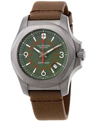 Victorinox I.n.o.x Green Dial Brown Leather Mens Watch