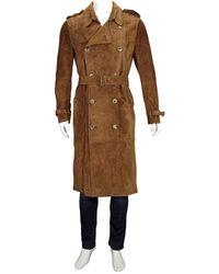 Burberry Kensington Suede Long Trench Coat - Brown