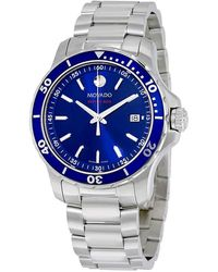 Movado Series 800 Blue Dial Stainless Steel Mens Watch