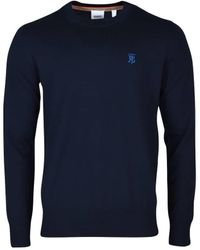 Burberry Monogram Motif Merino Wool Jumper - Blue