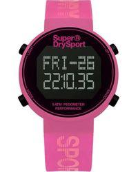 Superdry Digi Pedometer Quartz Digital Black Dial Unisex Smart Watch - Pink