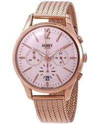 Henry London Shoreditch Pink Dial Chronograph Unisex Watch -cm-0168