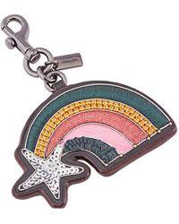 COACH Ladies Bag Charm Multicolour Emblished Rainbow Keychain
