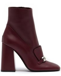 Burberry Ladies Bordeaux Brabant Leather Block-heel Boots, Brand - Red