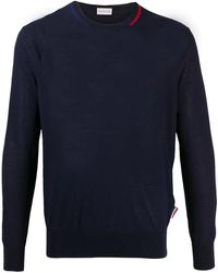Moncler Mens Contrast Detail Crewneck Sweater In Dark Blue, Brand