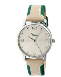 Boum Contraire Silver Dial Green And Beige Leather Ladies Watch - Metallic