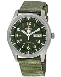 Seiko 5 Sport Automatic Khaki Green Canvas Mens Watch
