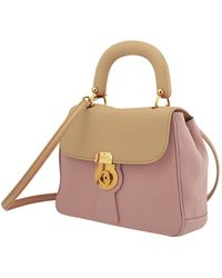Burberry Bi-colour Leather Top Handle Bag - Multicolor