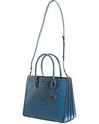 Michael Kors Mercer Large Pebbled Leather Accordion Tote Bag - Blue