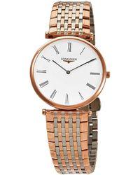Longines La Grande Classique White Dial Rose Gold-tone Ladies Watch - Metallic