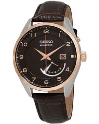 Seiko Kinetic Automatic Brown Dial Mens Watch - Multicolour