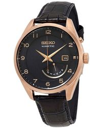 Seiko Kinetic Date-day Black Dial Mens Watch - Multicolour