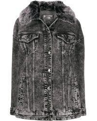 Michael Kors Ladies Acid-wash Denim Jacket - Black