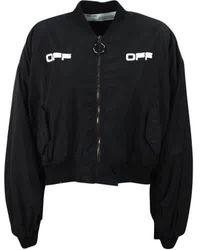 Off-White c/o Virgil Abloh Logo-print Cropped Bomber Jacket In Black/white