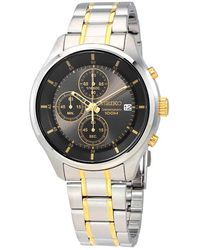 Seiko Neo Sports Chronograph Grey Dial Mens Watch - Metallic
