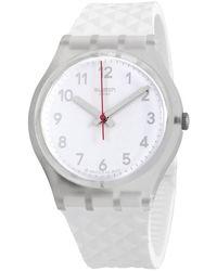 Swatch Whitenel Quartz White Dial White Silicone Ladies Watch