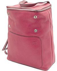 Loewe Ladies Goya Small Backpack In Burgundy - Red