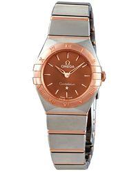 Omega - Constellation Quartz Brown Dial Ladies Watch - Lyst
