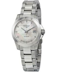 Longines Conquest Mother Of Pearl Dial Ladies Watch - Metallic
