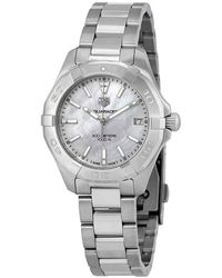 Tag Heuer Aquaracer White Mother Of Pearl Dial Ladies Watch - Metallic