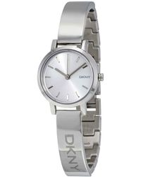DKNY Silver Sunray Dial Bangle Ladies Watch - Metallic