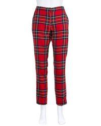 Burberry Ladies Pants Slim Bright Red Tartan Pants