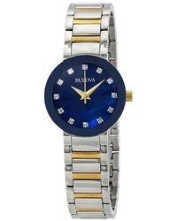 Bulova Modern Diamond Blue Mother Of Pearl Dial Ladies Watch