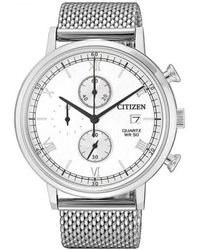 Citizen Chronograph Quartz White Dial Mens Watch -80a - Metallic
