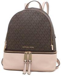 Michael Kors Medium Rhea Signature Logo Pebbled Leather Backpack - Brown