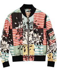 Burberry Bridgford Floral Stripe Print Bomber Jacket - Multicolour
