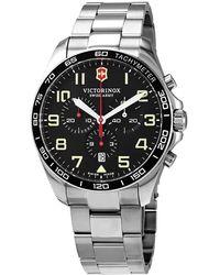Victorinox Fieldforce Chronograph Quartz Black Dial Mens Watch - Metallic