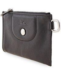 Longchamp Ladies Le Pliage Cuir Key Case In Black