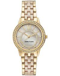 Anne Klein Quartz Crystal Tan Mother Of Pearl Dial Watch - Metallic