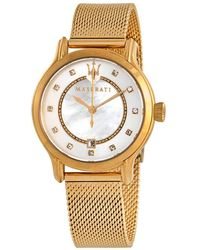 Maserati Epoca Diamond Mother Of Pearl Dial Ladies Watch - Metallic