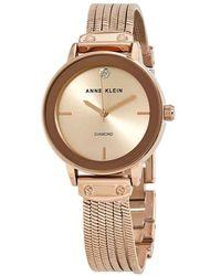 Anne Klein Rose Gold Dial Ladies Watch - Metallic