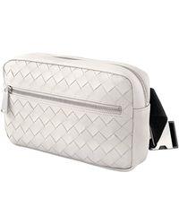 Bottega Veneta Intrecciato Weave Belt Bag In White