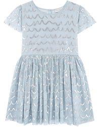 Stella McCartney Kids Shell Foil Tulle Dress - Blue