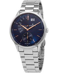 Edox Quartz Blue Dial Stainless Steel Watch  3m Buir - Multicolour
