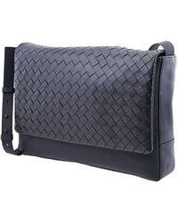 Bottega Veneta Mens Intrecciato Weave Messenger Bag - Blue