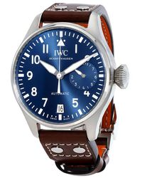 Iwc Iw500916 Pilot Leather And Stainless Steel Watch - Blue