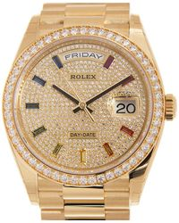 Rolex Yellow Gold Day-date Rainbow Paved Automatic Chronometer Ladies Watch -0030 - Metallic