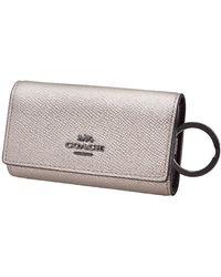 COACH Ladies Metallic Leather 6 Ring Key Case