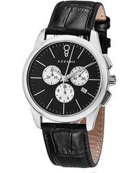 Azzaro Legend Chronograph Black Dial Bleack Leather Mens Watch
