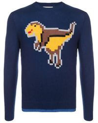 COACH Pixel Rexy Intarsia Sweater - Blue
