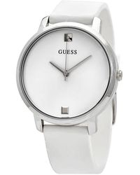 Guess Nova Quartz Silver Dial White Rubber Ladies Watch - Metallic